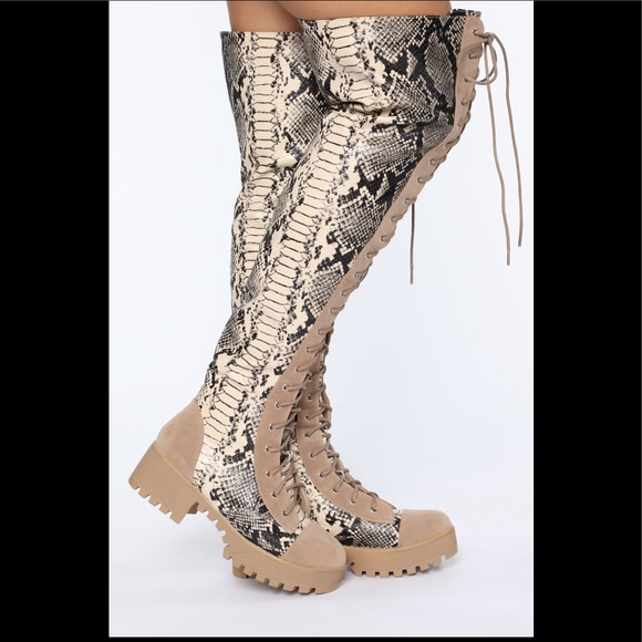 Shoes - Snakeskin boots- thigh high